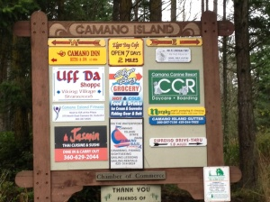 Sign Showing Businesses on Camano